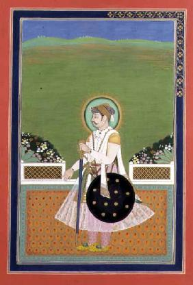A Prince standing on a Terrace, Indian Mughal
