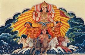 Surya Narayan, the Sun God (painted relief)
