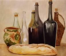 Still life with Bottles and Bread