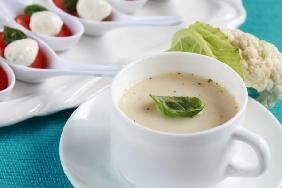 Cauliflower soup with fresh basil