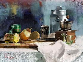 Still life with a milk can and a coffee grinder