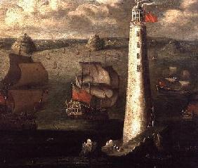 Men-o'-War and other Vessels before the Eddystone Lighthouse