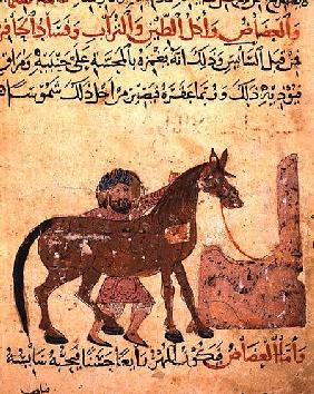 Caring for the horse, illustration from the 'Book of Farriery' by Ahmed ibn al-Husayn ibn al-Ahnaf