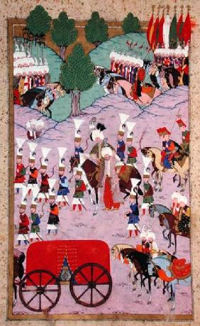 TSM H.1524 'Hunername': The Army of Suleyman the Magnificent (1494-1566) Leave for Europe, from the