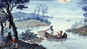 Fishing scene depicting the month of July, one of a series of twelve