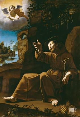 St. Francis of Assisi Consoled by an Angel Musician