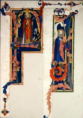 Historiated initial 'F' depicting a bishop saint blessing a young cripple and 'I' depicting a prophe