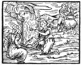 Witches roasting and boiling infants, copy of an illustration from 'Compendium Maleticarum' by Fr M