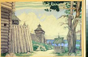 Stage design for the opera Prince Igor by A. Borodin