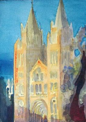 Main Entrance of The Natural History Museum, London, Sunset, 1994 (w/c on paper)