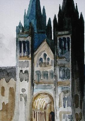 Main Entrance of The Natural History Museum, London, Rainy Evening, 1994 (w/c on paper)
