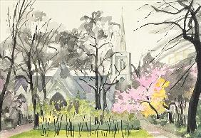 St. Michael''s Church, Chester Square, London, 1982 (w/c on paper)