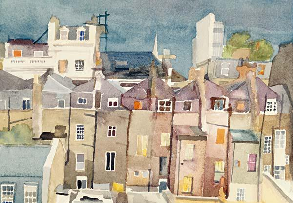 View from Rear Window of 48 Chester Square, SW1, 1982 (w/c on paper)