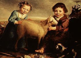 Two children with lamb.