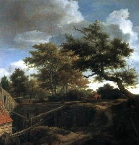 Woodland landscape with rear view of a water-mill