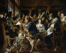 Jordaens, Jacob : The feast of the bean king...