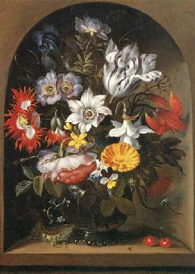 Bouquet of flowers in a niche