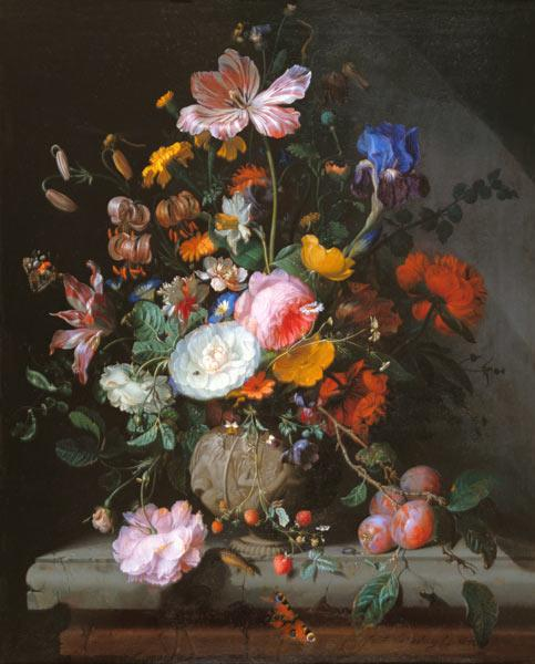 Bouquet of flowers in a stoneware vase