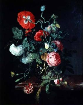 Flowers in a Glass Vase