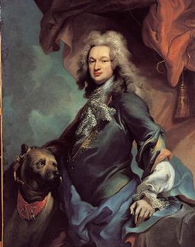 Portrait of a man with Great Dane
