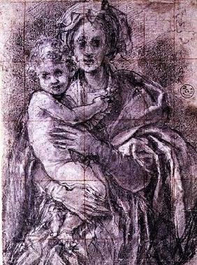 Study for The Virgin and Child with St. Joseph and John the Baptist, 1521-27 (black chalk on paper)