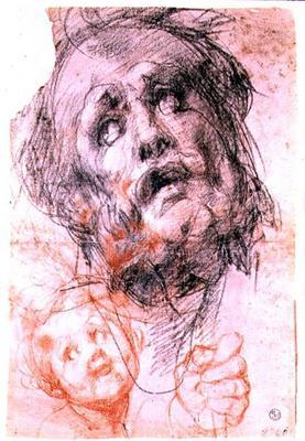 Study of the head of St. Joseph, the head of a child and a fist for the 'Holy Family with Saints' (P