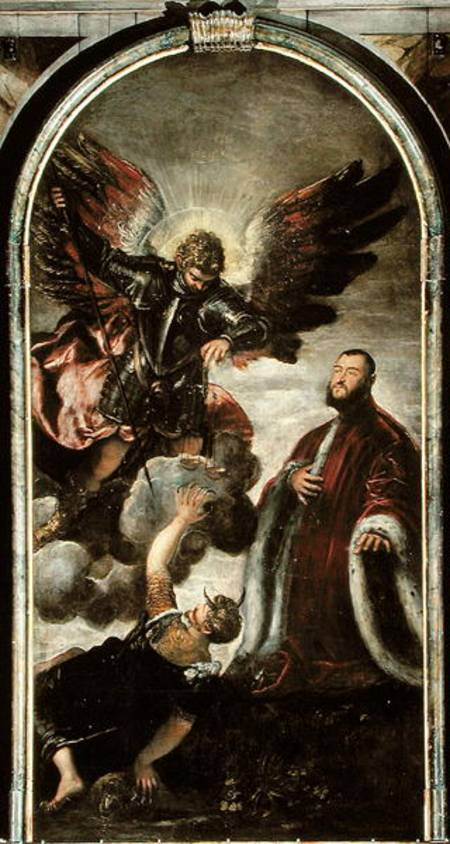 archangel michael vanqishing lucifer in jacopo robusti