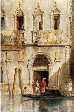 The Steps of the Palazzo Foscari, Venice, 1844 (pencil, ink