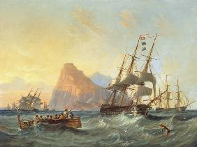 Carmichael, James Wilson : Warships Under Sail at Gib...
