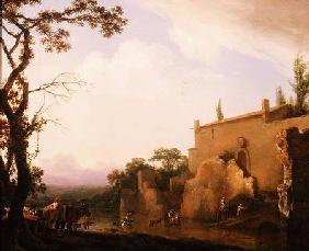 Italianate landscape with figures fording a stream