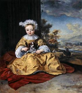 A Child in a yellow dress holding a dog (oil on canvas)
