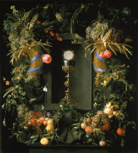 Goblet and host, surrounded by fruit garlands
