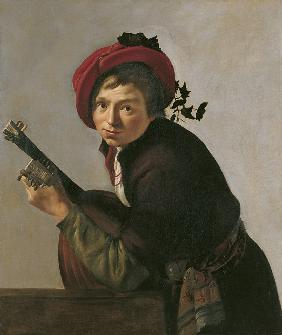 Young Man Playing a Theorbo