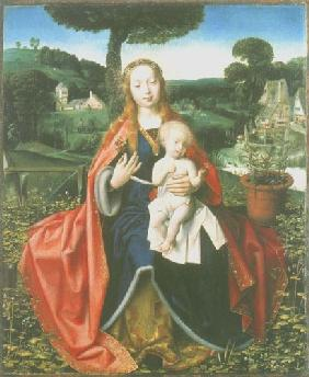 Madonna with child in a landscape