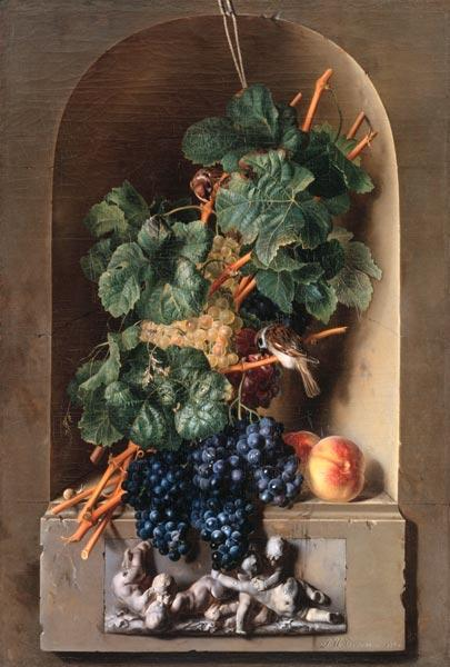 Grape still life in a niche