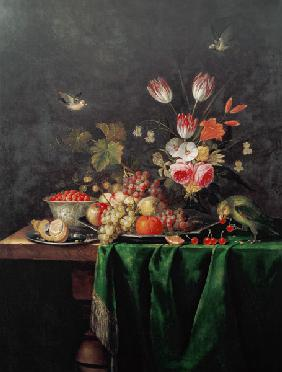 Still Life of Fruit and Flowers with a Parrot on a Table covered with a Green Cloth
