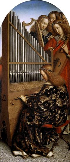van Eyck, Jan : Genter altar, angel playin...
