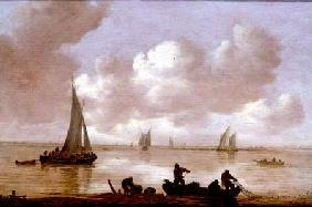 An estuary with fisherman hauling in their nets, with sailing boats behind