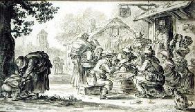 A Farmers' Card Game in front of the Inn, 1624 (pencil, pen and ink and brush on