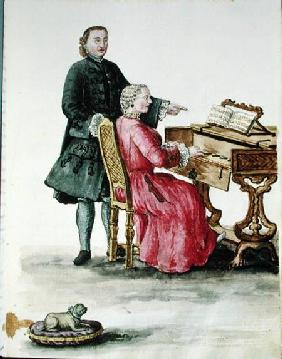 A Singer at the Clavichord with her Teacher