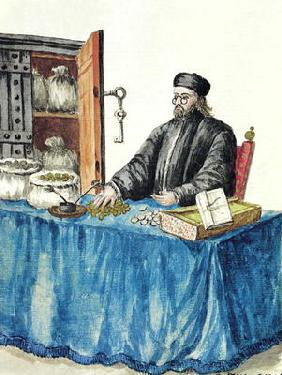 Venetian Moneylender, from an illustrated book of costumes (w/c on paper)