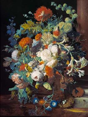 van Huysum, Jan : Bouquet of flowers at a co...