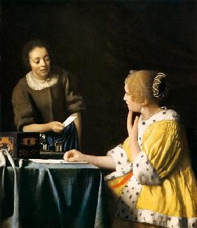 Lady with her Maid holding a Letter