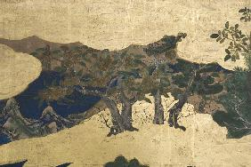 Detail of Spring in the Palace, six-fold screen from 'The Tale of Genji'