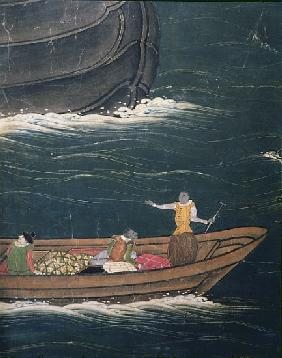The Arrival of the Portuguese in Japan, detail of small ship with cargo, from a Namban Byobu screen,