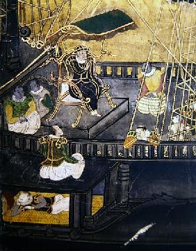 The Arrival of the Portuguese in Japan, detail showing men in the central part of a ship, from a Nam