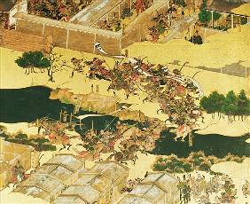 The Battle of Hogen from a screen, Momayama Period (1568-1600) (pen & ink, colour and gold laid on p