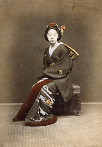 Young Girl In A Kimono C 1860 70 Hand Japanese School