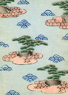 Woodblock Print of Trees on Islands