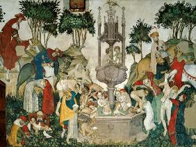 The Fountain of Life, detail of people arriving and bathing in the fountain